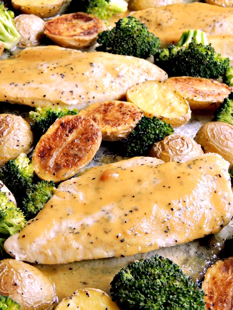 Honey mustard chicken on a sheet pan with broccoli and potatoes.