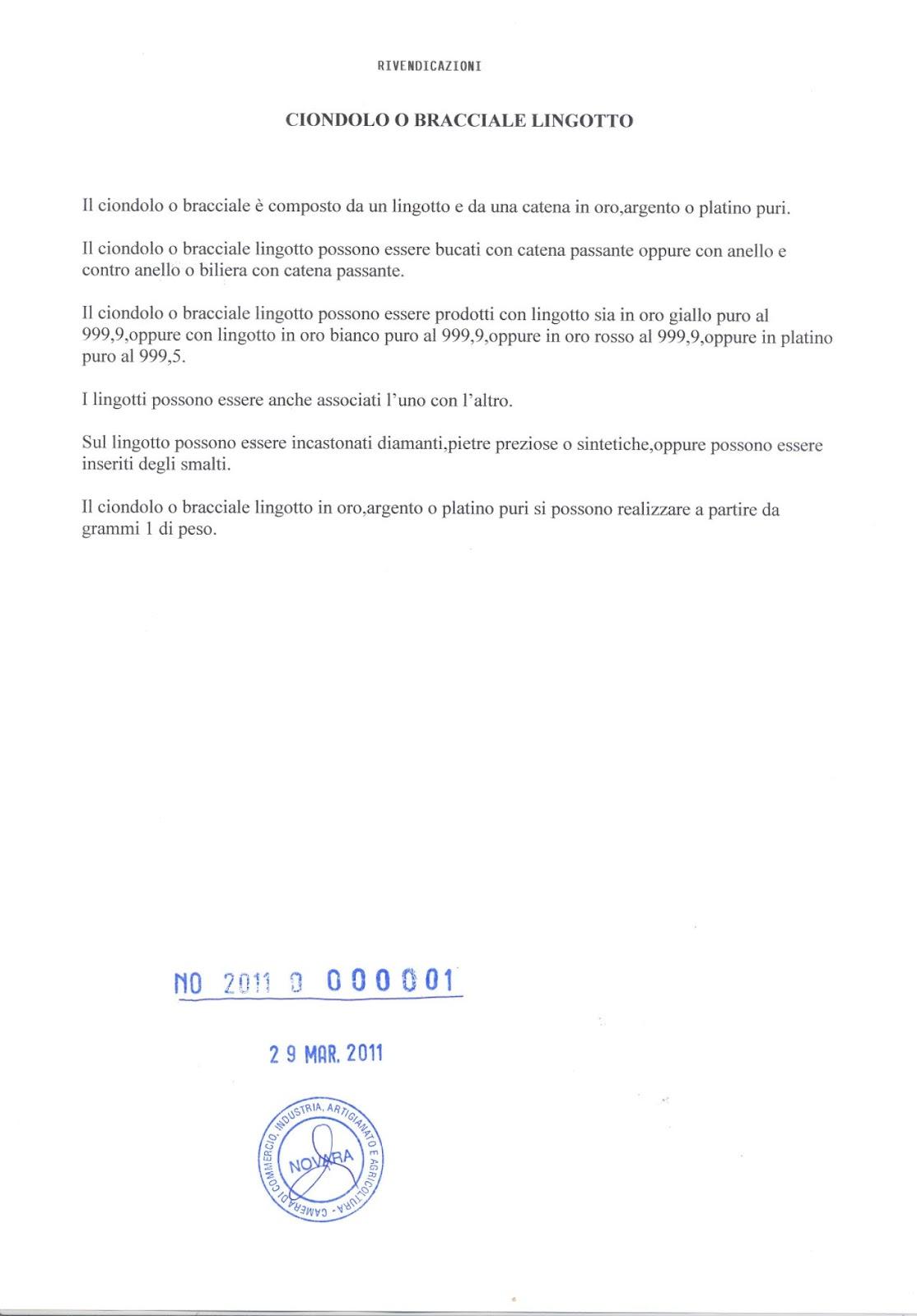 Brevetto Ciondoli e Bracciali con Lingotti by Gianfranco