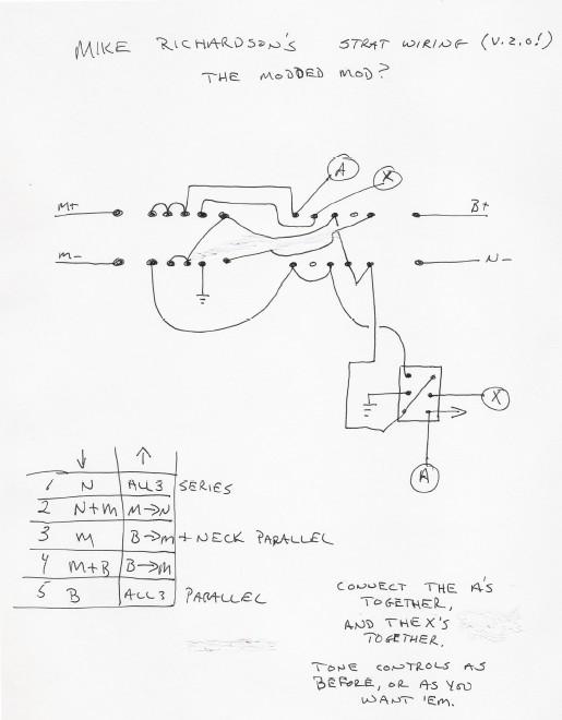 Hermetico Guitar: Wiring Diagram: Mike Richardson mod 03