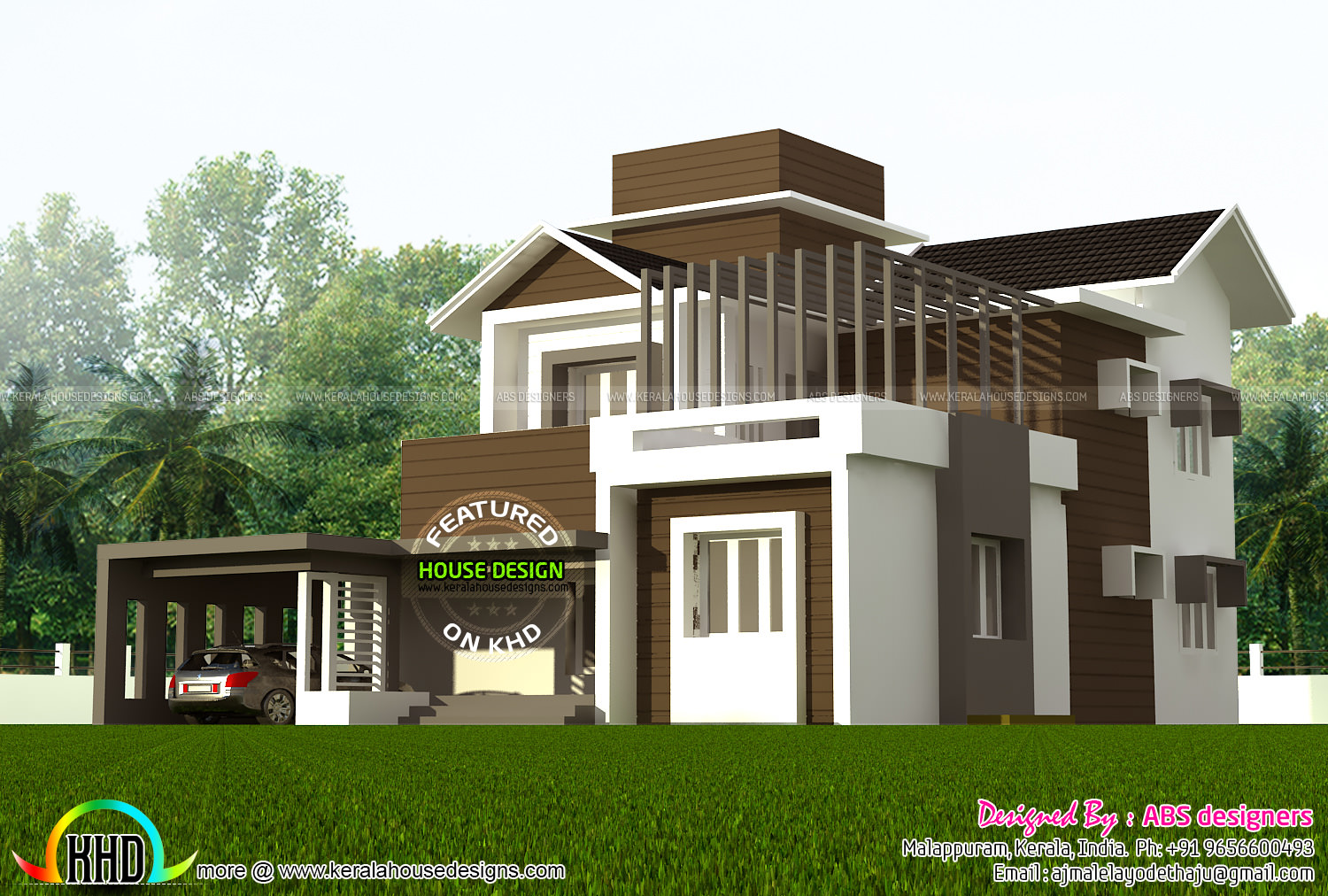 1800 sq ft 4 bedroom contemporary villa kerala home for 4 bedroom villa plans