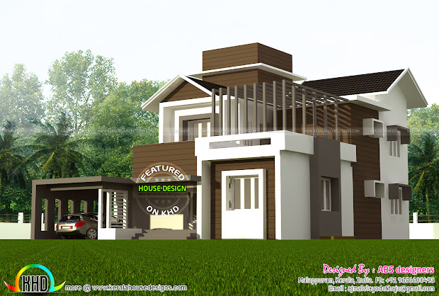 1800 Sq-ft 4 Bedroom Contemporary Villa - Kerala Home