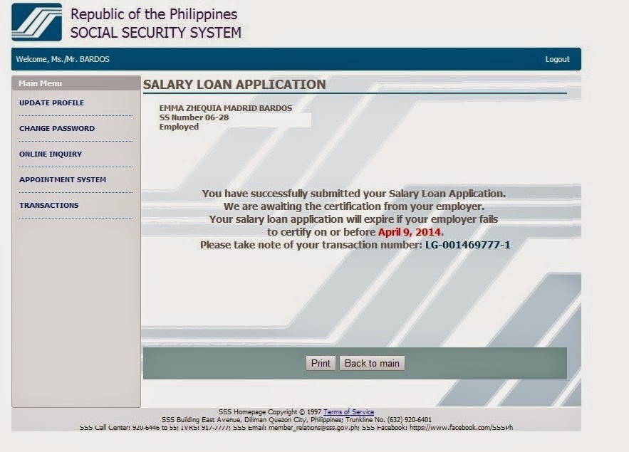 SSS Online Loan Application - Food, Travel and Whatevs