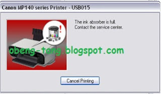 "Cara Memperbaiki Printer Canon MG2170 ""The ink absorber is almost full"""