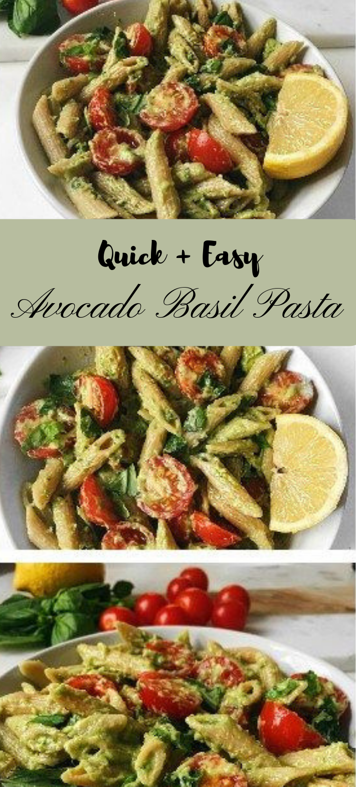 QUICK AND EASY BASIL AVOCADO PASTA #vegan #eathealthy