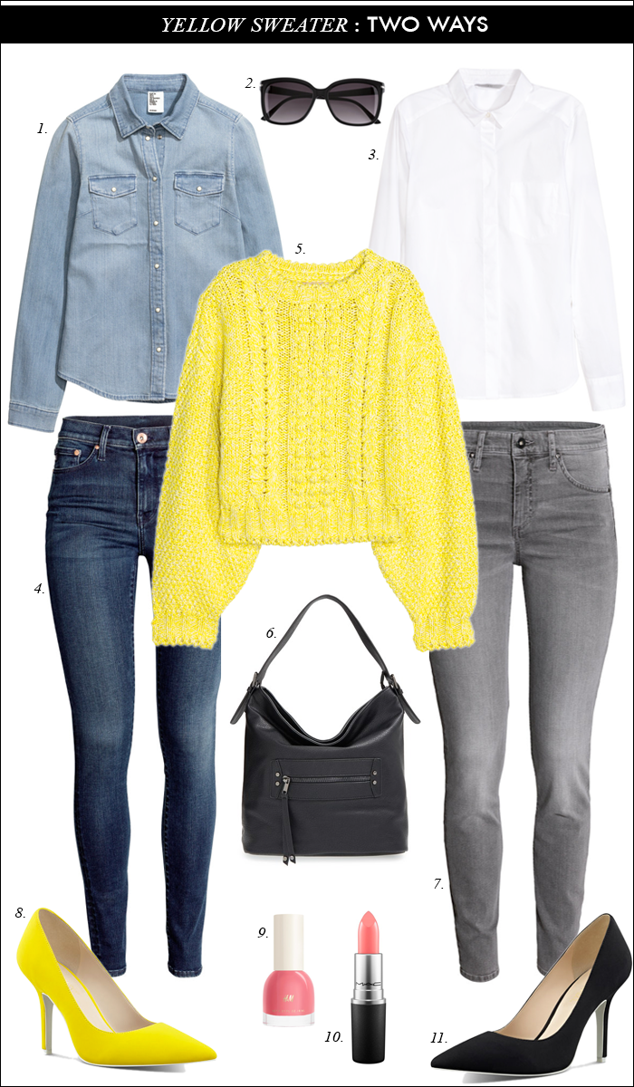 nine west pumps, daily style, grey jeans, yellow sweater, spring style