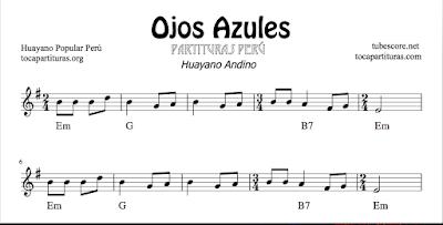 Ojos Azules de Gilberto Rojas Partitura de Chelo, Clarinete, Corno inglés, Fagot, Flauta, Oboe, Quena, Saxo Alto, Saxo Tenor, Partitura de Trombón, Trompa, Trompeta, Tuba, Viola, Violín... Tablaturas de Guitarra