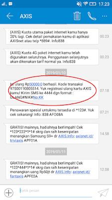 Bukti Pengisian Pulsa Gratis Ke-2 dari Aplikasi Baca Plus Android