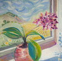 flower painting, still life, window art, Bee Skelton artist, orchid painting,