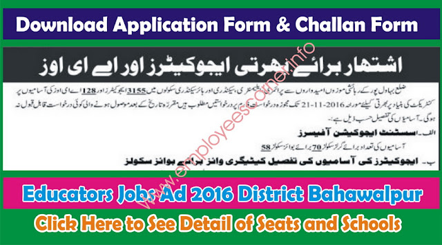 Educators Jobs 2016 District Bahawalpur seat allocation