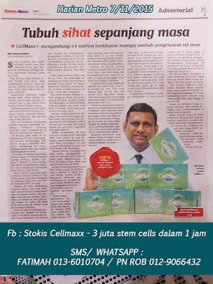 CellMaxx Tambah Pengeluaran Stem Sel, Tubuh Jadi Sihat