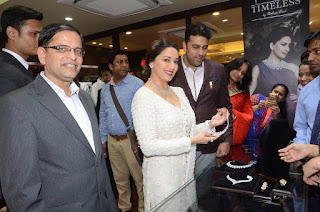 Actress Madhuri Dixit Pictures in Designer White Salwar Kameez at PNG Jewelers Launch  0014.jpg