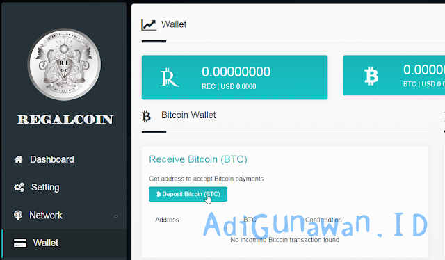 Cara Deposit Bitcoin (BTC) ke RegalCoin