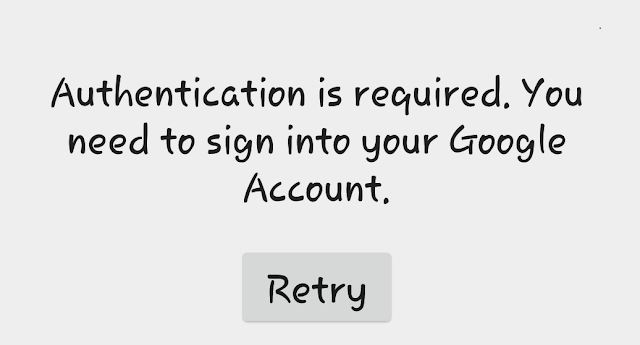 Google Play authentication is required error