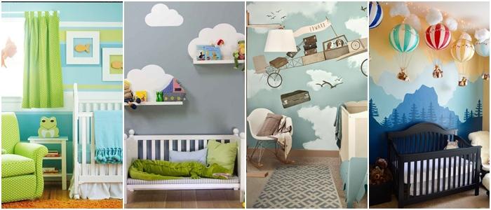 pokój dla chłopca, motyw chmurki, pokój na poddaszu