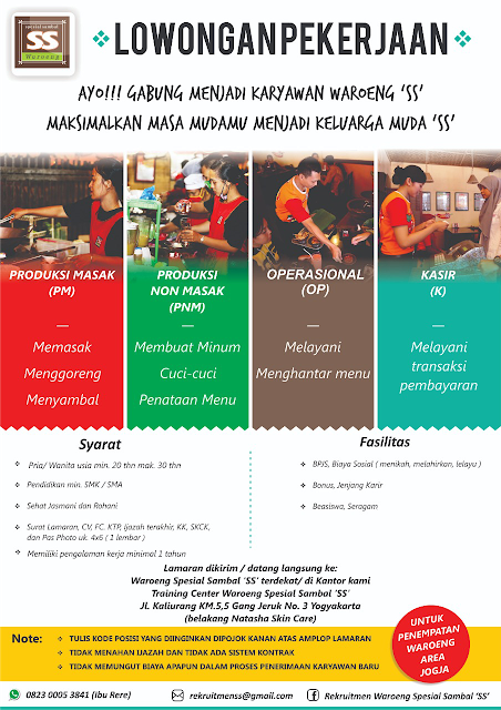 Lowongan Kerja di Waroeng Spesial Sambal (SS) Yogyakarta (Lulusan SMA/SMK/Setara)