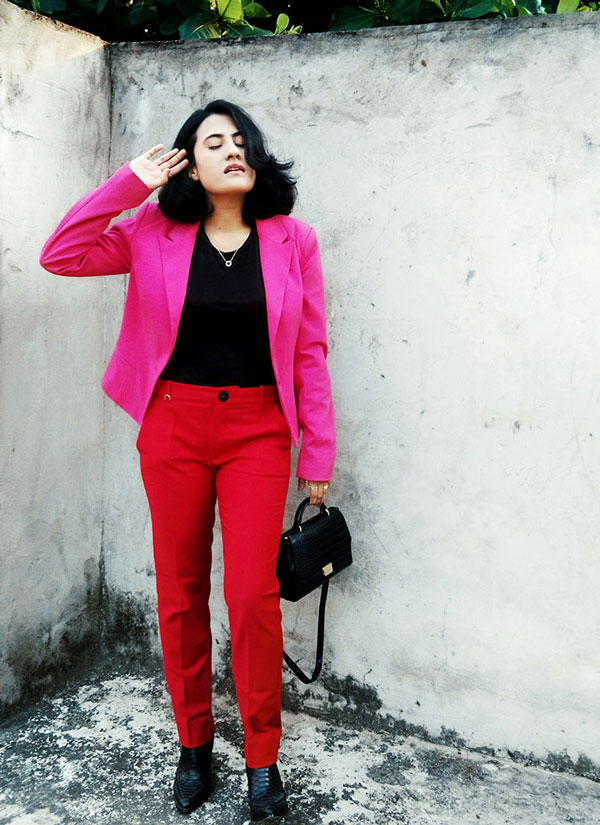 Zarablacktop,Mango Red trousers,Only pink blazer,Zarablackcitybag,Mango women's Boots