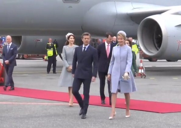 King Philippe and his wife Queen Mathilde are official welcomed by Queen Margrethe, Crown Prince Frederik, Crown Princess Mary, Prince Joachim and Princess Marie