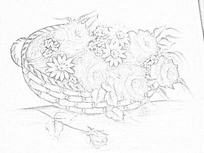 pintura em tecido risco para pintar cesta de rosas
