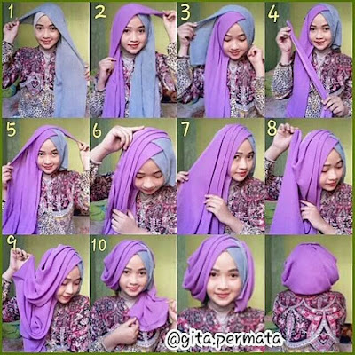 Tutorial Hijab untuk Baju Kebaya Perpisahan Wisuda ala Inivindy atau Vindy