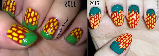Then-and-Now-Throwback-Nails-Nail-Art-Freehand-Strawberries-Strawberry