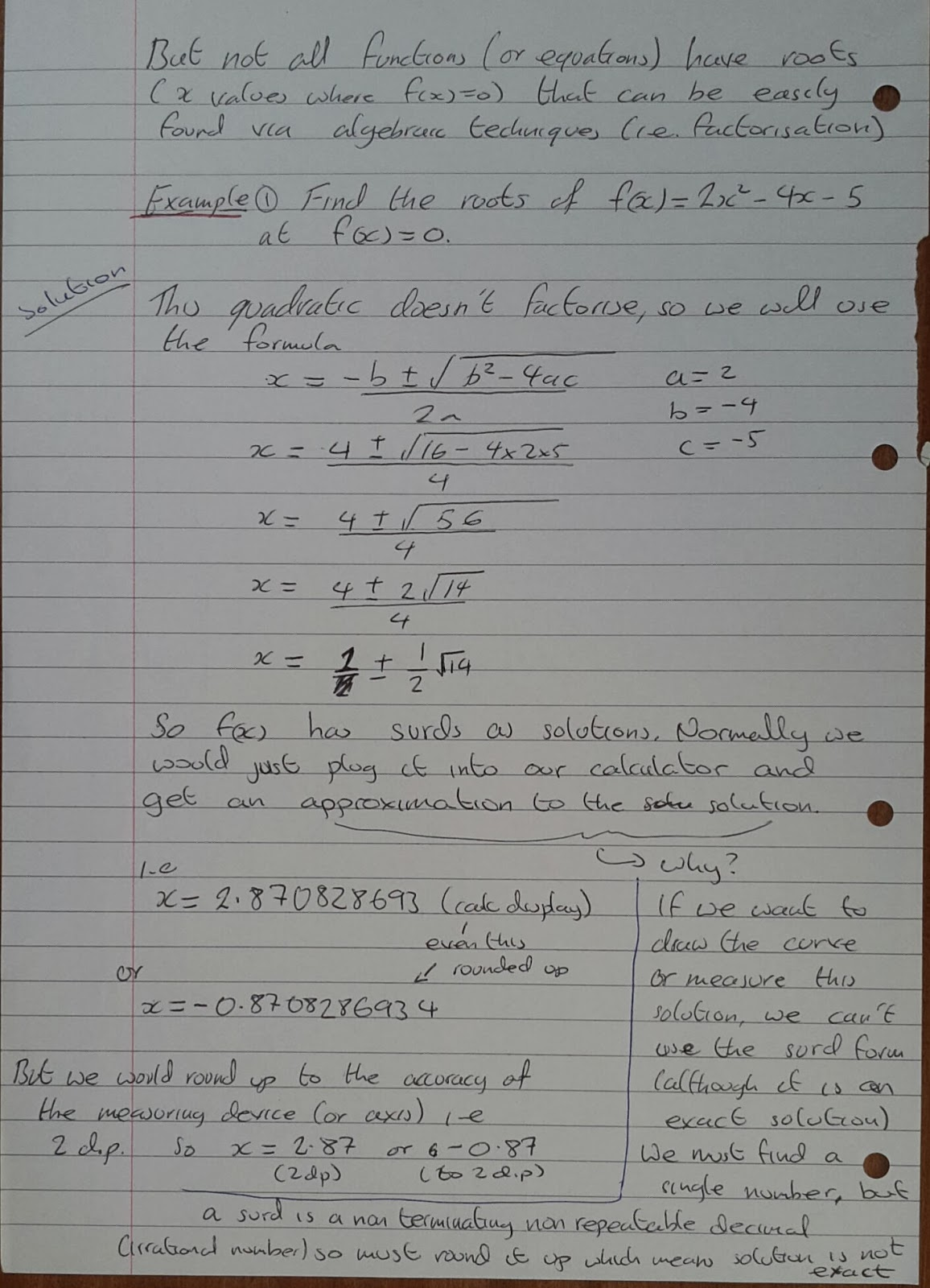 A Level Maths Notes: A2 Numerical Methods: change of sign