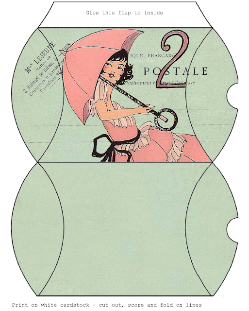 Girl with Umbrella Retro Free Printable Box.