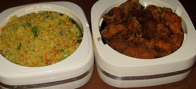 NIGERIAN FRIED RICE WITH A SIDE OF COATED CHICKEN