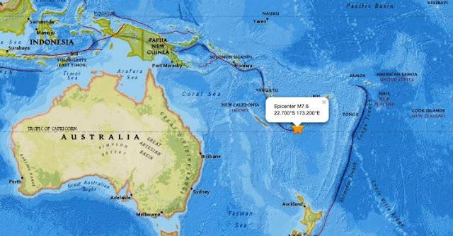Terremoto de magnitud 7,6 desata alerta de tsunami en el Pacífico sur