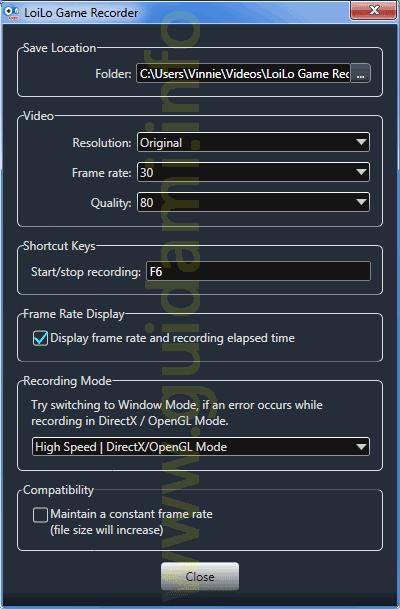 LoiLo Game Recorder impostazioni di registrazione