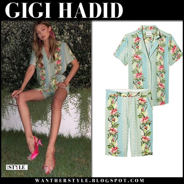 Gigi Hadid in blue green tropical print shirt and shorts scotch and soda model summer style july 4