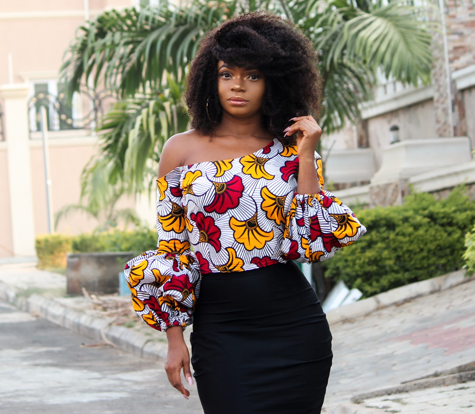 ANKARA TOP + BLACK MIDI SKIRT - African Print Skewed Neckline Top with Black Midi Skirt