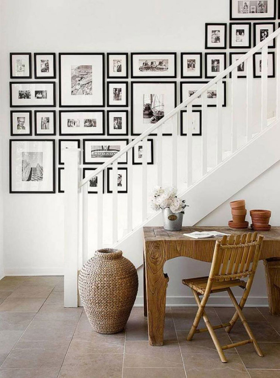 wall decor, deco ideas, stairs, framed prints