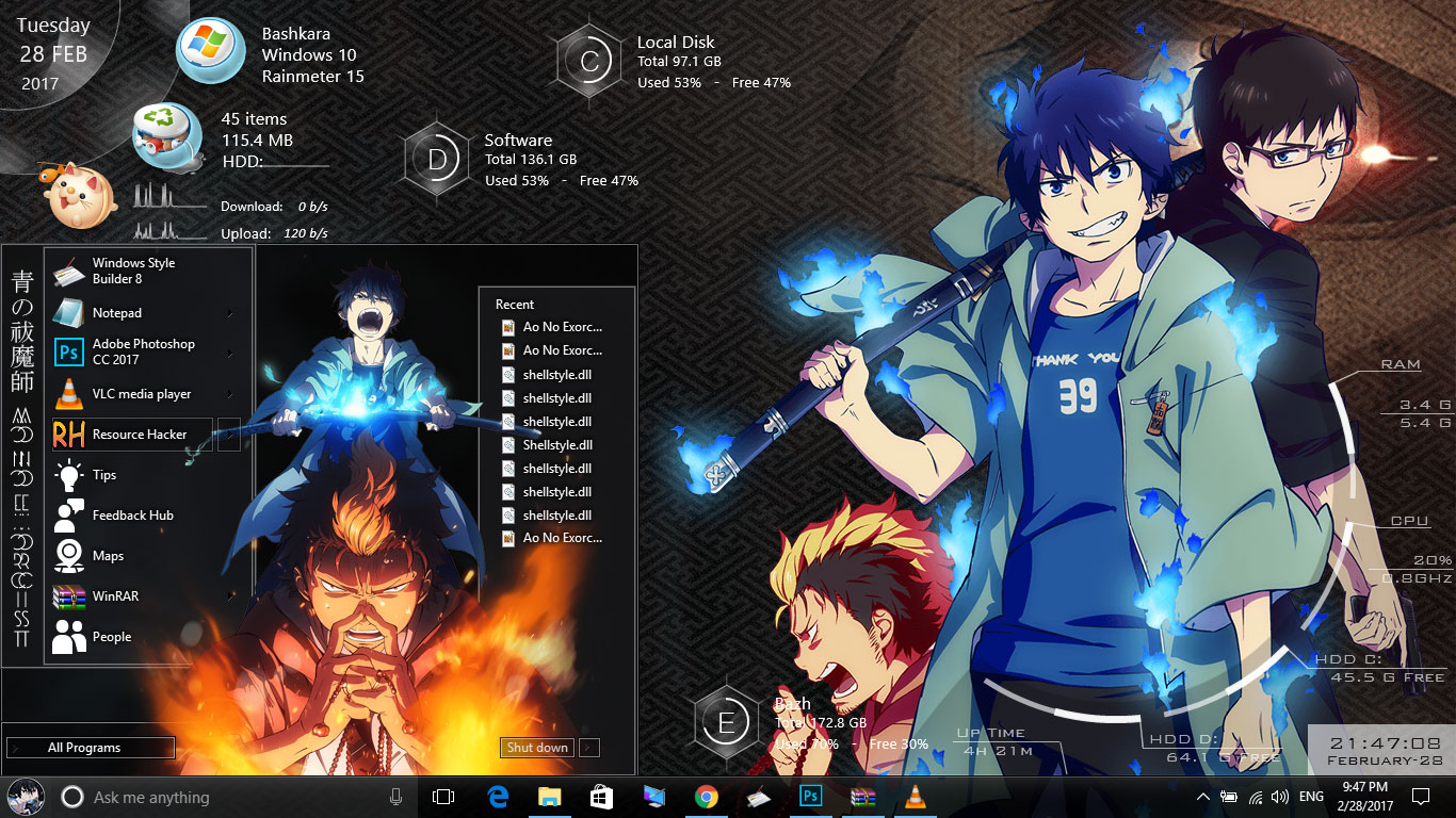Theme Ao No Exorcist for Windows 10 Version 1607 - Anime Skin