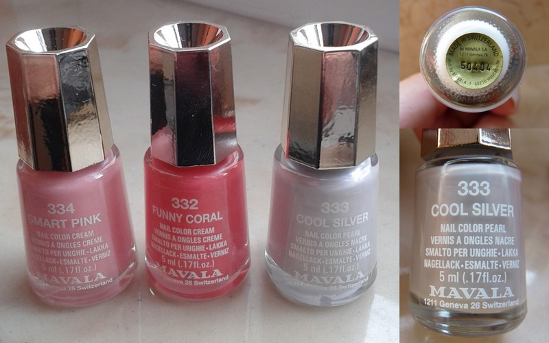 MAVALA – lakiery do paznokci 334 Smart Pink,  333 Cool Silver, 332 Funny Coral.