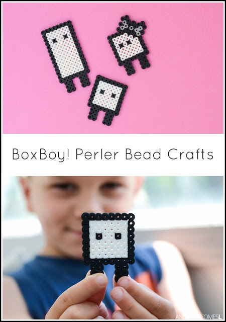 Perler bead crafts for kids based off the Nintendo 3DS game BoxBoy! from And Next Comes L