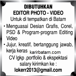 Lowongan Kerja Editor Photo Video Batam