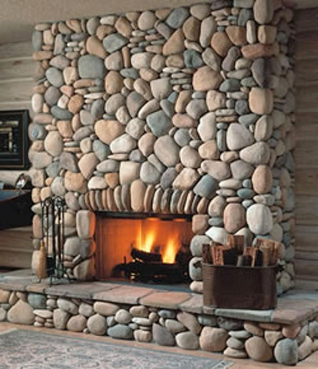Stone Wall Design Ideas: Amiable Stone Veneer Decorative Fireplace Design In Modern