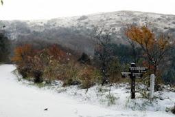天山で初冠雪