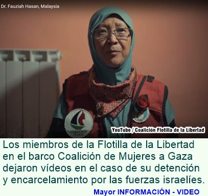 Tripulación del Barco de la mujer a Gaza lanza alerta 'En Caso de Secuestro' Video