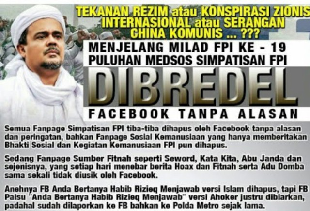 Akun Medsos Umat Islam Sering Dibredel, FPI Luncurkan Aplikasi Medsos Tandingan