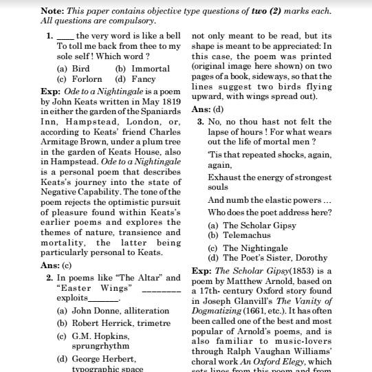 CSIR CBSE UGC NET/JRF FET TET English Literature Solved