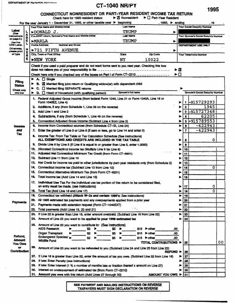 donald trump 1995 income tax record