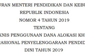 Juknis Penggunaan DAK Nonfisik BOP PAUD Tahun 2019