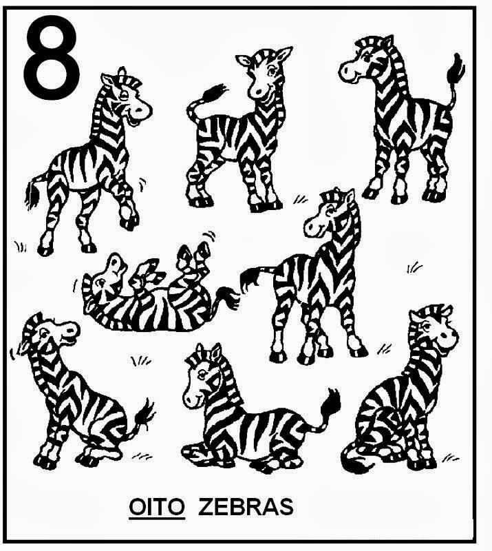 Atividades com Numerais - Zebras para colorir