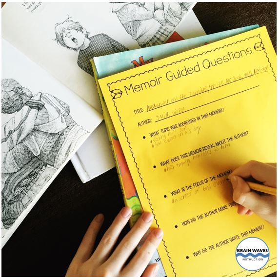 Start the Memoir Writing Unit with a student of memoir mentor texts.  Students answer guided questions about the memoirs so that they have a true understanding of the genre before writing their own memoir.