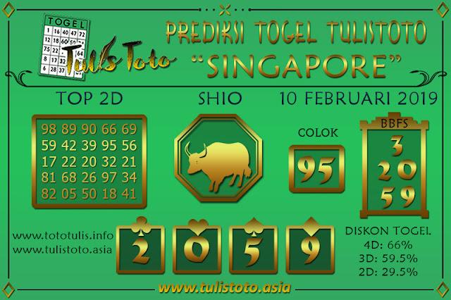 Prediksi Togel SINGAPORE TULISTOTO 10 FEBRUARI 2019