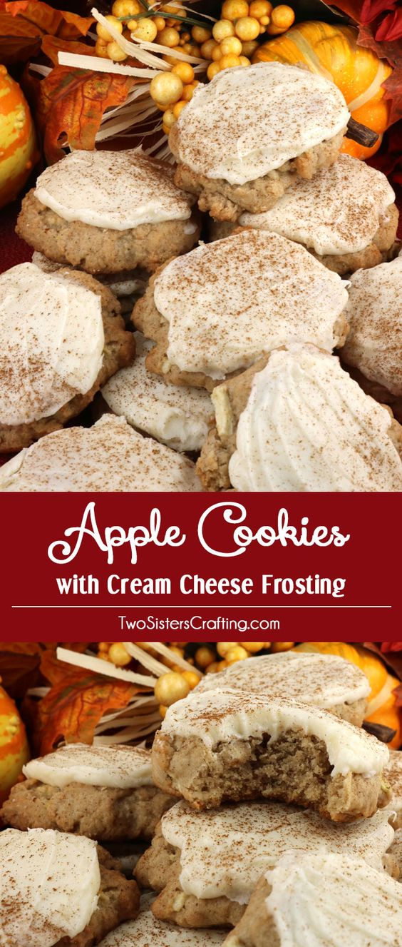 APPLE COOKIES AND CREAM CHEESE FROSTING #apple #applecookies #cookies #cookiesrecipes #creamcheese #creamcheesefrosting