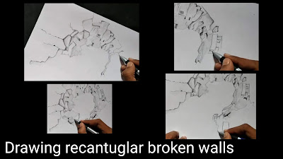 Step by step tutorial for to draw broken walls, cracked wall structure drawing, easy drawing for kids, learn to draw