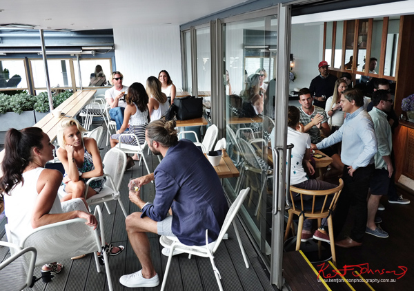 Indul-Gent Jeff Lack and friends on the deck at the Sperry Odyssey Australia launch @ Regatta Rose Bay.