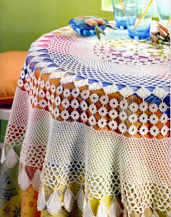 Patrones de Mantel circular tejido con ganchillo